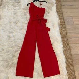 Tahari Other - One shoulder jumpsuit with sash belt. Really cute!